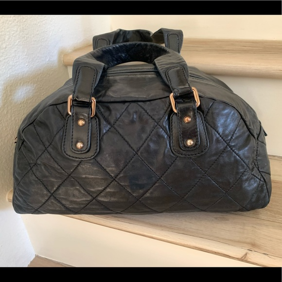 Chanel Quilted Leather Bowler Bag Purse